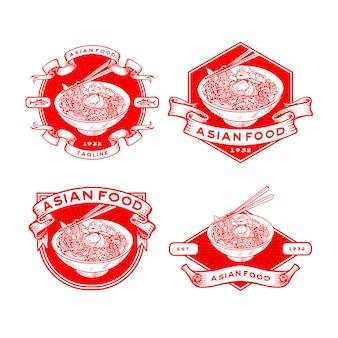 Conjunto de modelos de logotipo de comida asiática