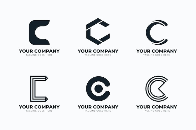 Conjunto de modelos de logotipo de design plano c