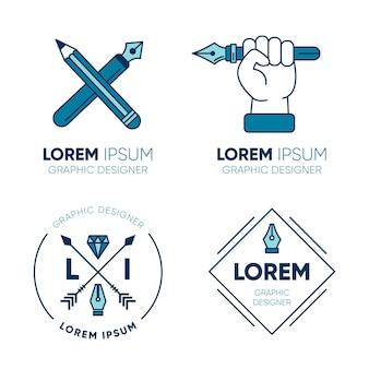 Conjunto de modelos de logotipo de designer gráfico
