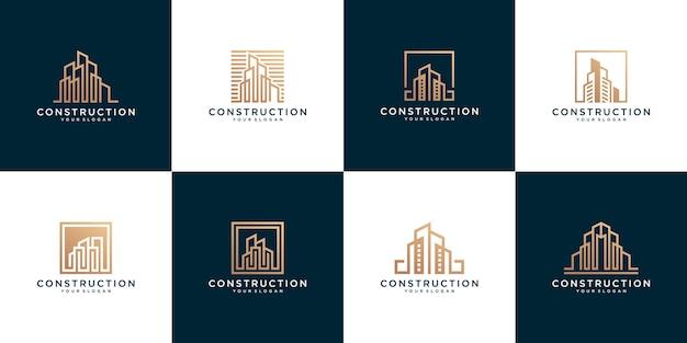 Conjunto de modelos de logotipo de edifício de construção abstrata