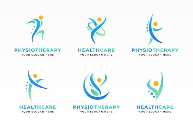 Conjunto de modelos de logotipo de fisioterapia de gradiente