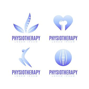 Conjunto de modelos de logotipo de fisioterapia gradiente