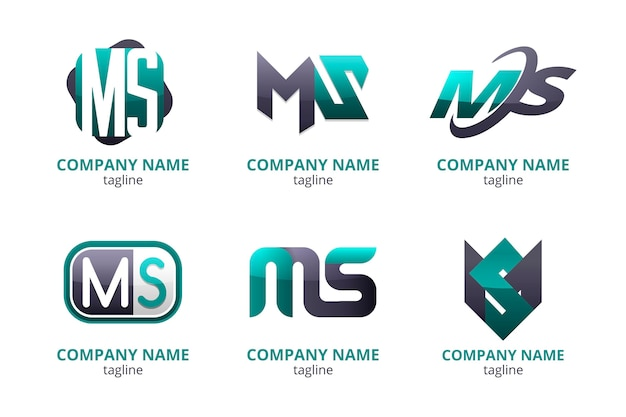 Conjunto de modelos de logotipo de gradiente ms