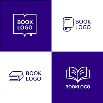 Conjunto de modelos de logotipo de livro de design plano