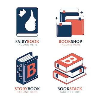 Conjunto de modelos de logotipo de livro plano
