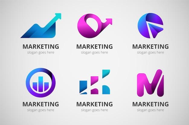 Conjunto de modelos de logotipo de marketing gradiente