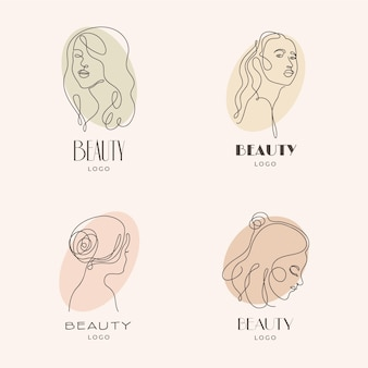 Conjunto de modelos de logotipo de mulher desenhada à mão