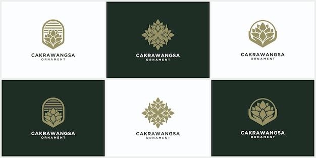 Conjunto de modelos de logotipo de ornamento de produtos naturais e orgânicos modernos, logotipos e designs de emblemas no conceito de cosméticos naturais e florais de estilo de natureza linear