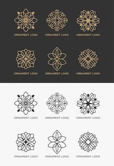 Conjunto de modelos de logotipo de ornamento