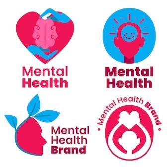 Conjunto de modelos de logotipo de saúde mental plana