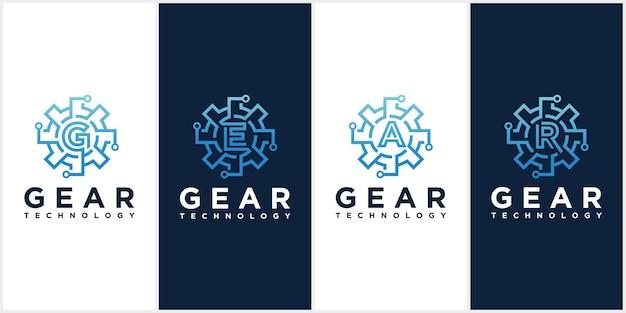 Conjunto de modelos de logotipo de vetor de tecnologia de engrenagem.