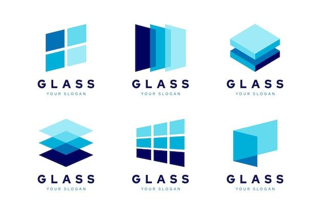 Conjunto de modelos de logotipo de vidro criativo