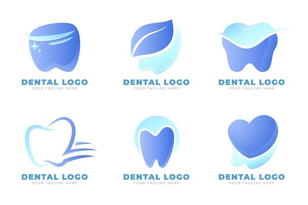 Conjunto de modelos de logotipo dentário gradiente