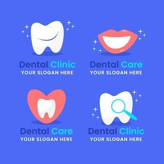 Conjunto de modelos de logotipo dentário plano