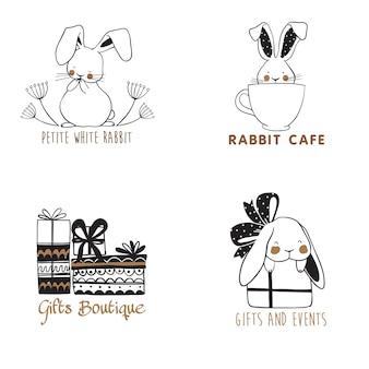 Conjunto de modelos de logotipo desenhado mão com coelhos bonitos