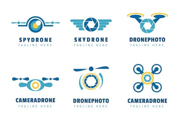 Conjunto de modelos de logotipo drone criativo