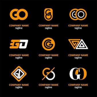 Conjunto de modelos de logotipo flat go Vetor grátis