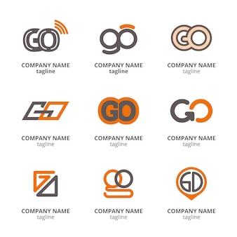 Conjunto de modelos de logotipo flat go