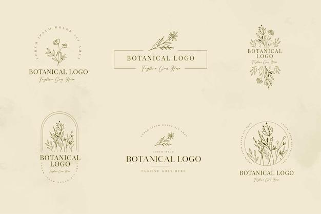 Conjunto de modelos de logotipo floral e botânico minimalista