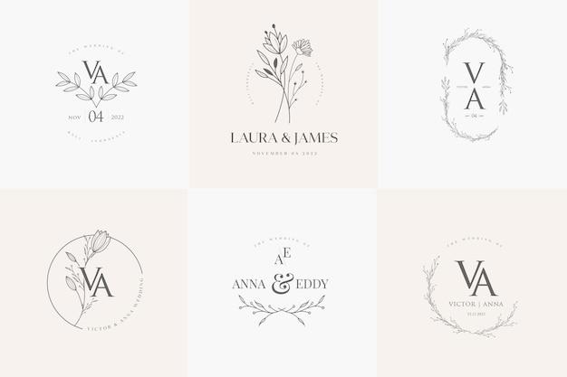 Conjunto de modelos de logotipo floral minimalista para casamento