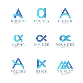 Conjunto de modelos de logotipo gradiente alfa