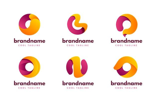 Conjunto de modelos de logotipo gradiente o