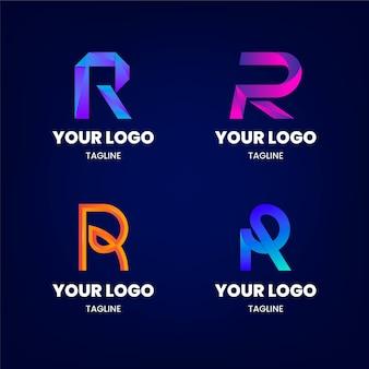 Conjunto de modelos de logotipo gradiente r