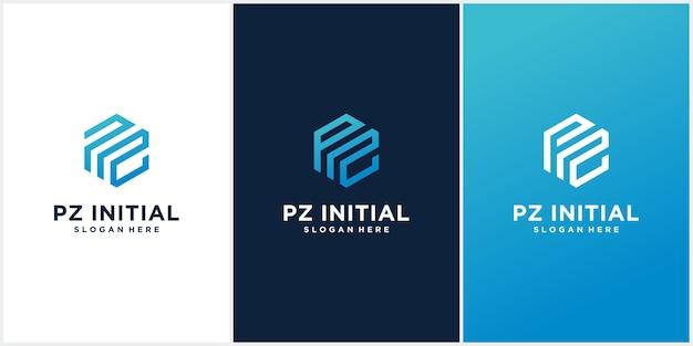 Conjunto de modelos de logotipo inicial pz