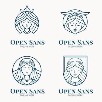 Conjunto de modelos de logotipo linear de deusa