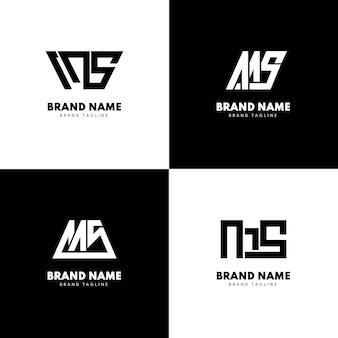 Conjunto de modelos de logotipo ms de design plano