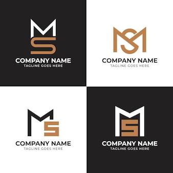 Conjunto de modelos de logotipo ms plana