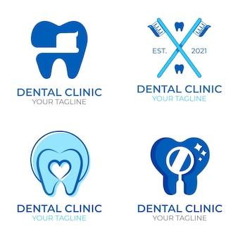 Conjunto de modelos de logotipo odontológico de design plano