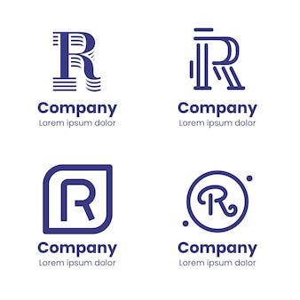 Conjunto de modelos de logotipo r plano