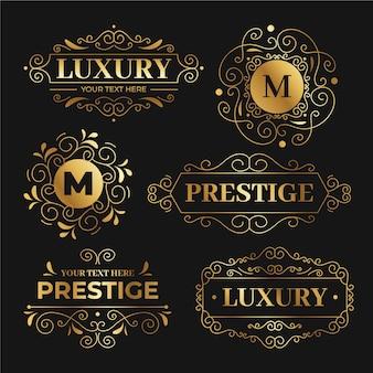Conjunto de modelos de logotipo retrô de luxo