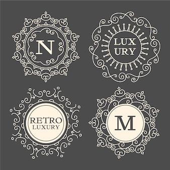 Conjunto de modelos de logotipo vintage de luxo