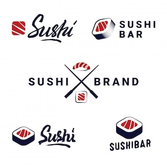 Conjunto de modelos de logotipos de loja de sushi. objetos e ícones do vetor para o café japonês do alimento com salmões.