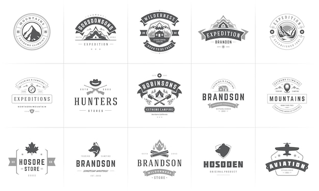 Conjunto de modelos de logotipos e emblemas de camping