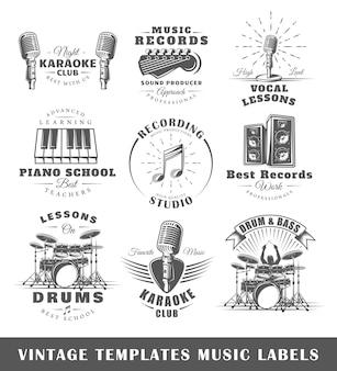 Conjunto de modelos de logotipos musicais vintage