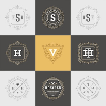 Conjunto de modelos de logotipos vintage, floresce bordas e molduras caligráficas ornamentos elegantes