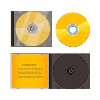 Conjunto de modelos de maquete de caixa de cd ilustração realista