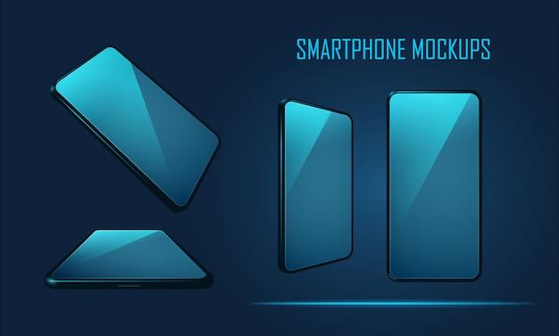Conjunto de modelos de maquete de smartphone