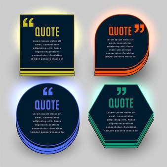 Conjunto de modelos de marca de citação de tema escuro de quatro
