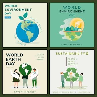 Conjunto de modelos de medalhas sociais de meio ambiente