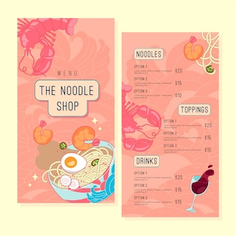 Conjunto de modelos de menu de restaurante de macarrão