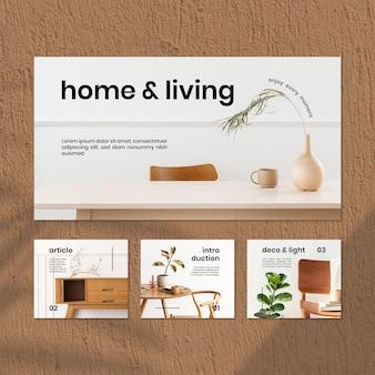 Conjunto de modelos de mídia social vintage para casa e vida