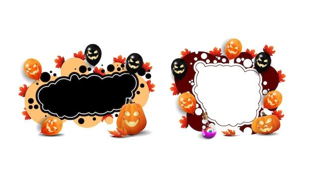 Conjunto de modelos de moldura de halloween com abóboras