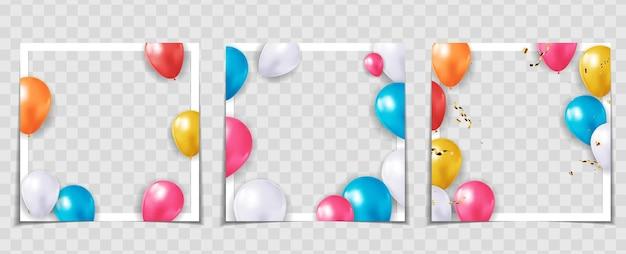 Conjunto de modelos de molduras para fotos de balões de férias para festas