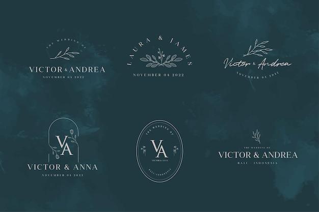 Conjunto de modelos de monograma de logotipo de casamento elegante