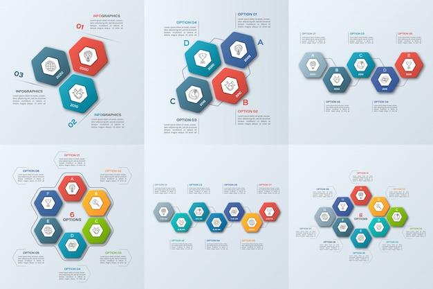 Conjunto de modelos de negócios infográfico com etapas
