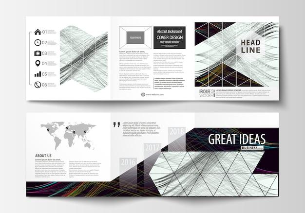 Conjunto de modelos de negócios para brochuras quadrados tri.